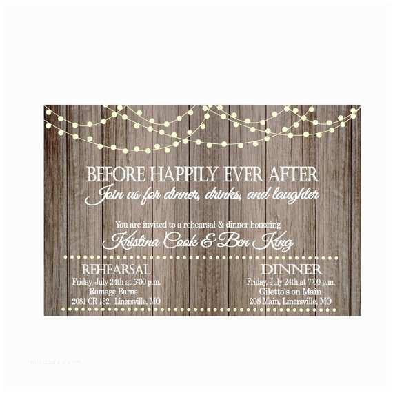 After Wedding Dinner Invitation Wording Vintage Lights Rustic Wood before Happily Ever after