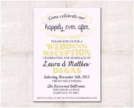 After Wedding Dinner Invitation Wording Wedding Reception Celebration after Party Invitation Custom