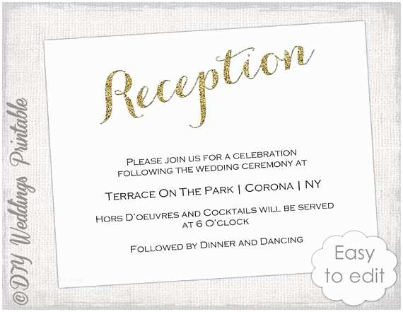After Wedding Dinner Invitation Wording Wedding Reception Invitation Template Diy Gold