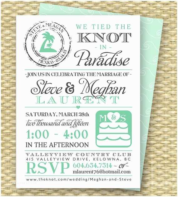 After Wedding Party Invitations Destination Wedding Invitation Post Destination Wedding