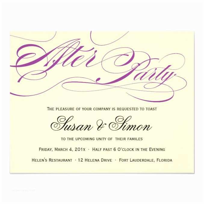 After Wedding Party Invitations Elegant Script after Party Invitation Purple Wedding