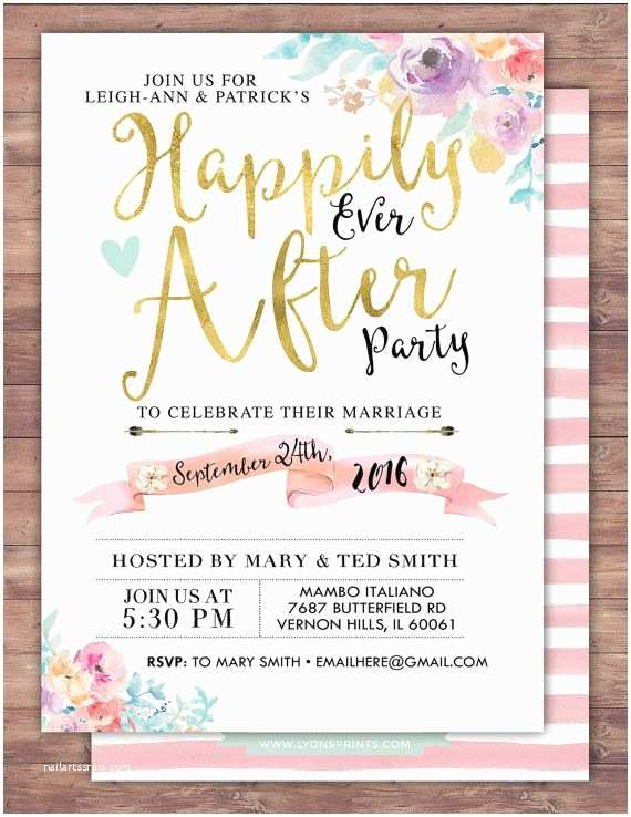 After Wedding Party Invitations Happily Ever after Invitation Boho Wedding Shower by