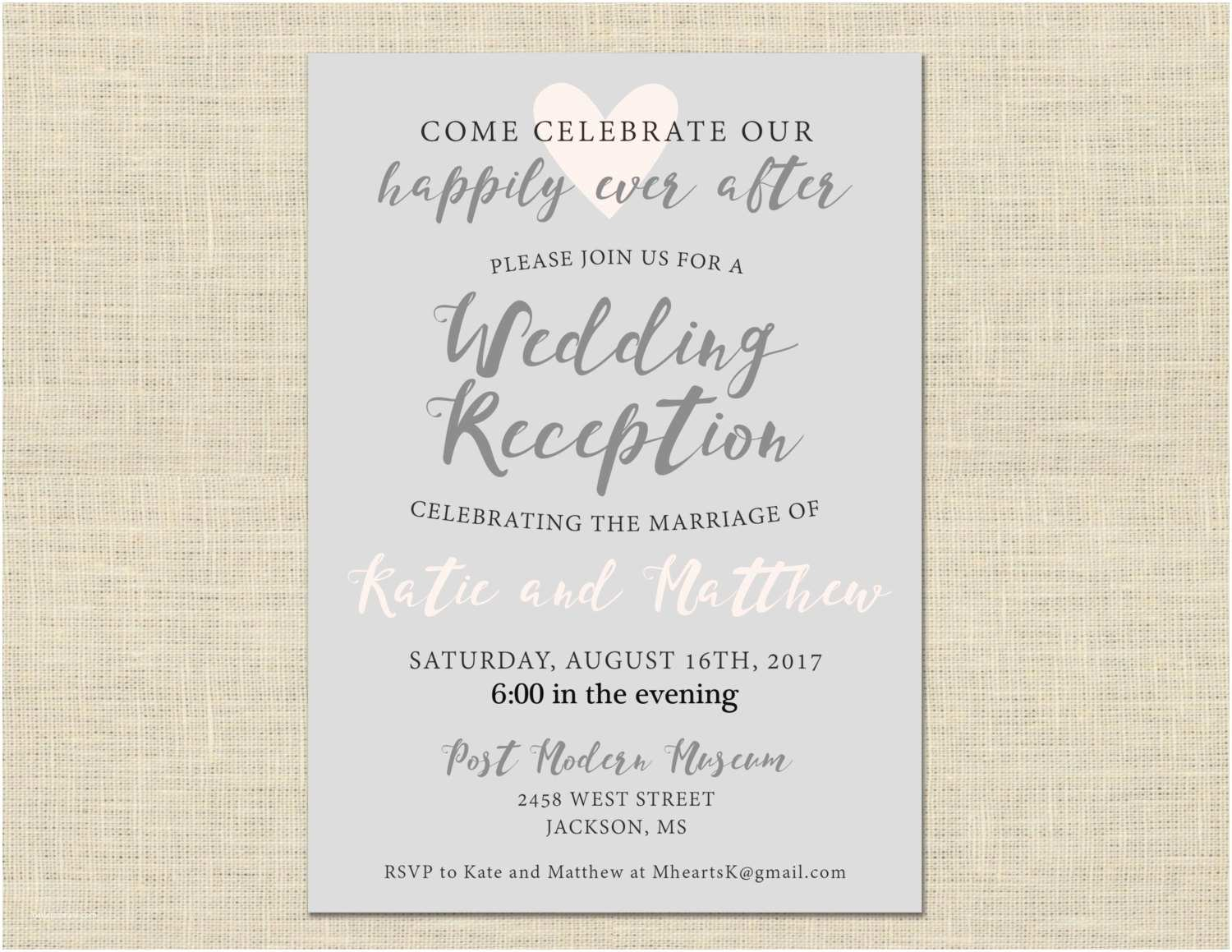 After Wedding Party Invitations Printable Wedding Reception Invitation Celebration after