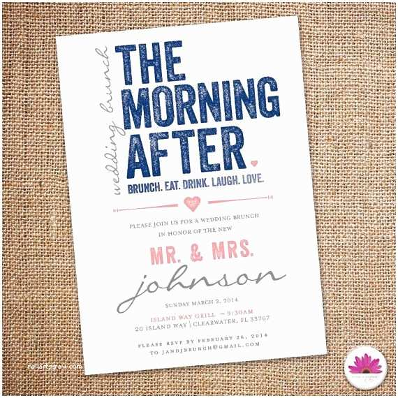 After Wedding Party Invitations the Morning after Wedding Brunch Invitation 5 X 7