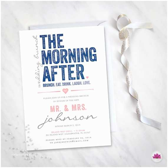 After Wedding Party Invitations the Morning after Wedding Brunch Invitation Digital File