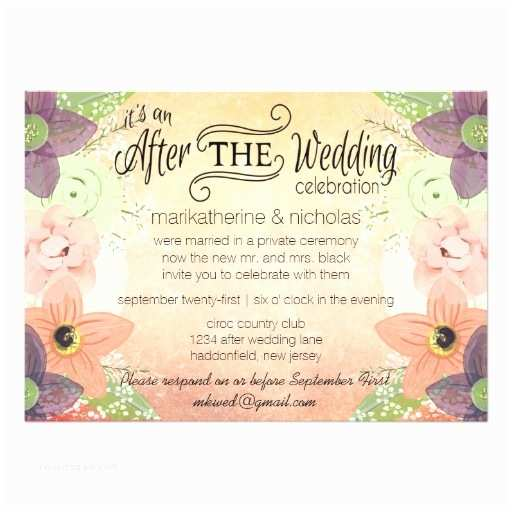 After Wedding Party Invitations Watercolor Flowers after Wedding Invitations