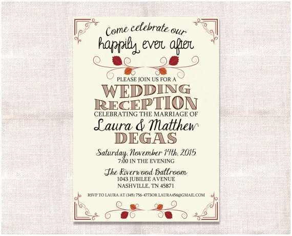 After Wedding Party Invitations Wedding Reception Celebration after Party Invitation Custom