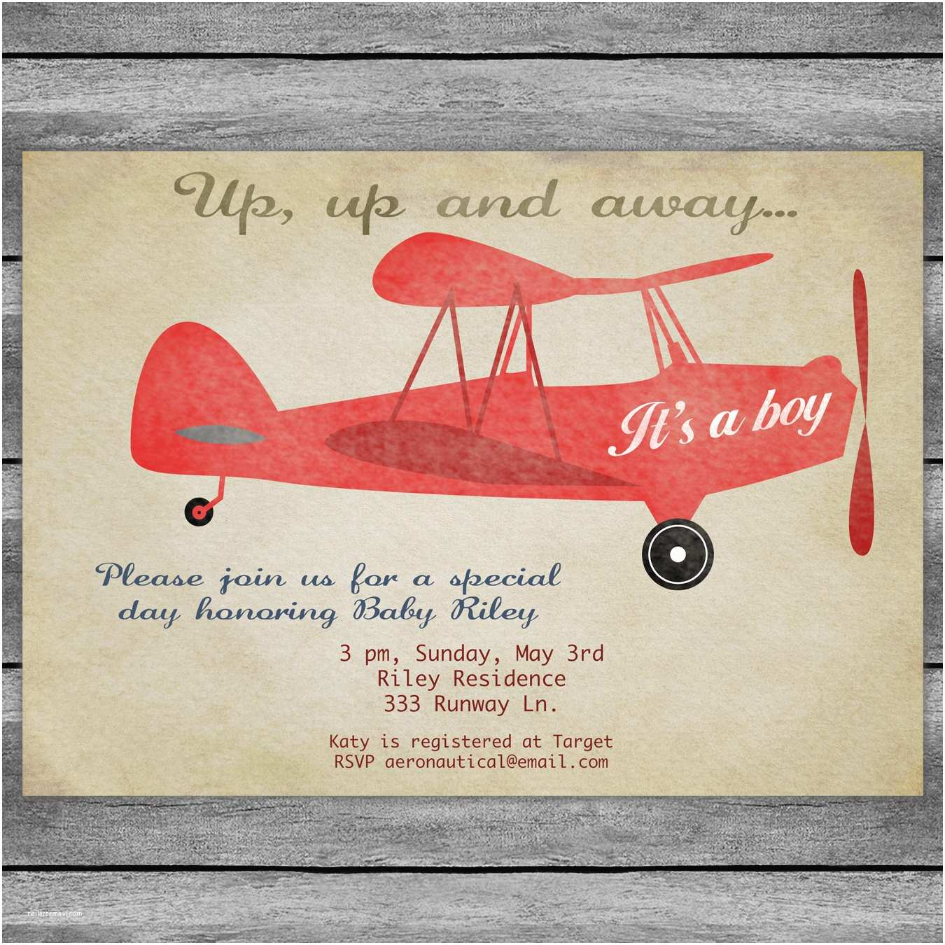 Airplane Baby Shower Invitations Airplane Baby Shower Invitation Card Vintage Birthday Red or