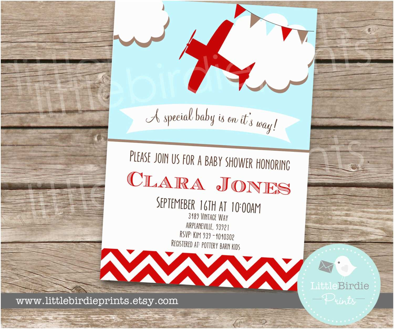 Airplane Baby Shower Invitations Airplane Baby Shower Invitation Chevron by Littlebir Prints