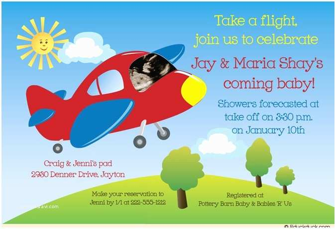 Airplane Baby Shower Invitations Airplane Baby Shower Invitation Colorful Ultrasound
