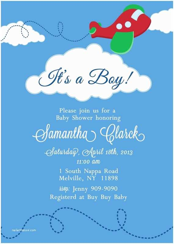 Airplane Baby Shower Invitations Airplane Baby Shower Invitation