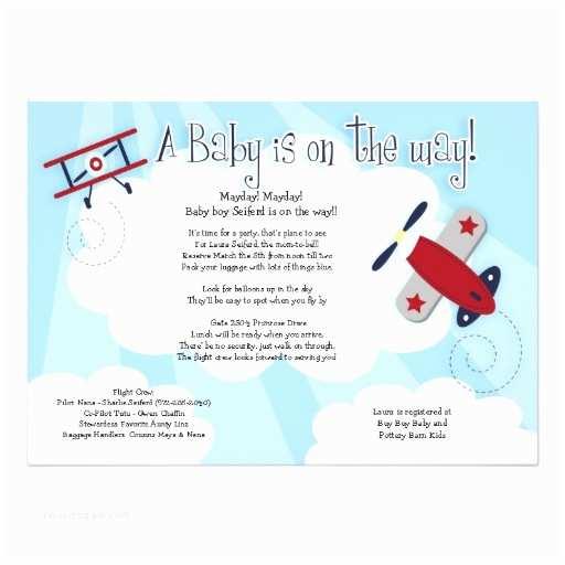 """Airplane Baby Shower Invitations Baby Aviator Airplane 5x7 Baby Shower Invitation 5"""" X 7"""