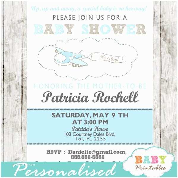 Airplane Baby Shower Invitations Blue Airplane Baby Shower Invitation Boys D164 Baby