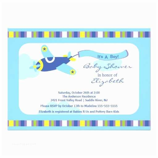 Airplane Baby Shower Invitations Cute Blue Airplane Boy Baby Shower Invitation