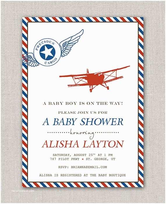 Airplane Baby Shower Invitations Items Similar to Precious Cargo Vintage Airplane Baby