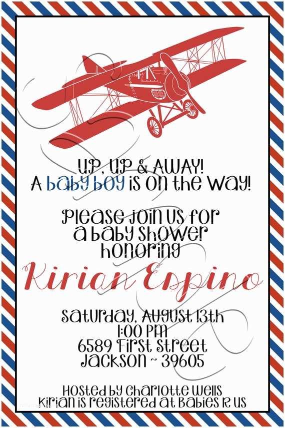 Airplane Baby Shower Invitations Items Similar to Printable Vintage Airplane Baby Shower