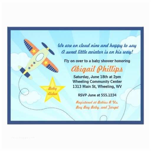 Airplane Baby Shower Invitations Lil Aviator Airplane Baby Shower Invitations