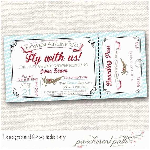 Airplane Baby Shower Invitations Vintage Airplane Baby Shower Invitation by Parchmentpath