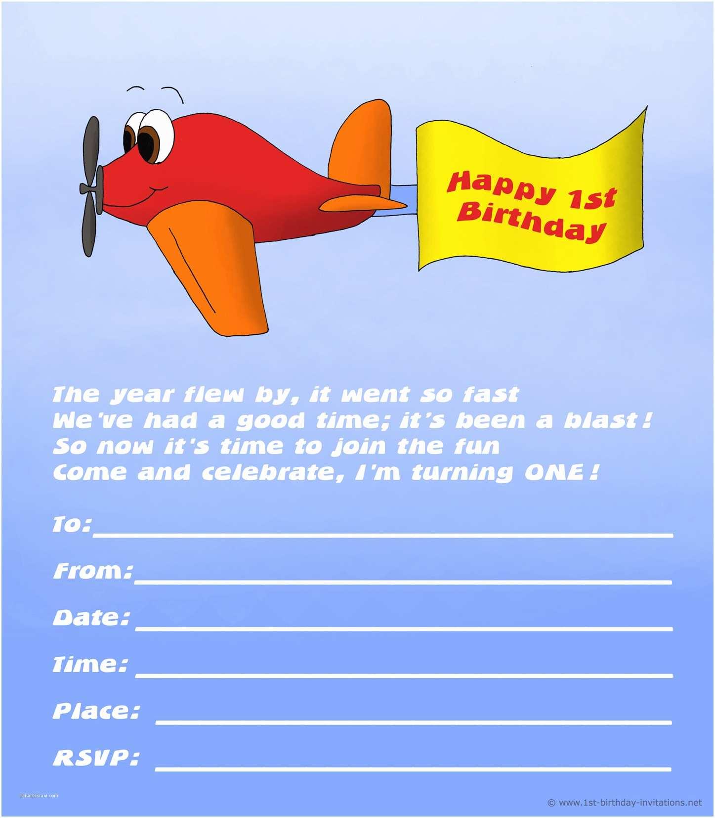 Airplane Birthday Invitations 20 Cute 1st Birthday Invitations Free Printable and