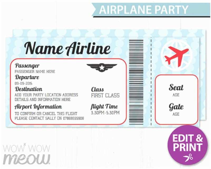 Airplane Birthday Invitations Airline Ticket Invitation Template Free Orderecigsjuicefo