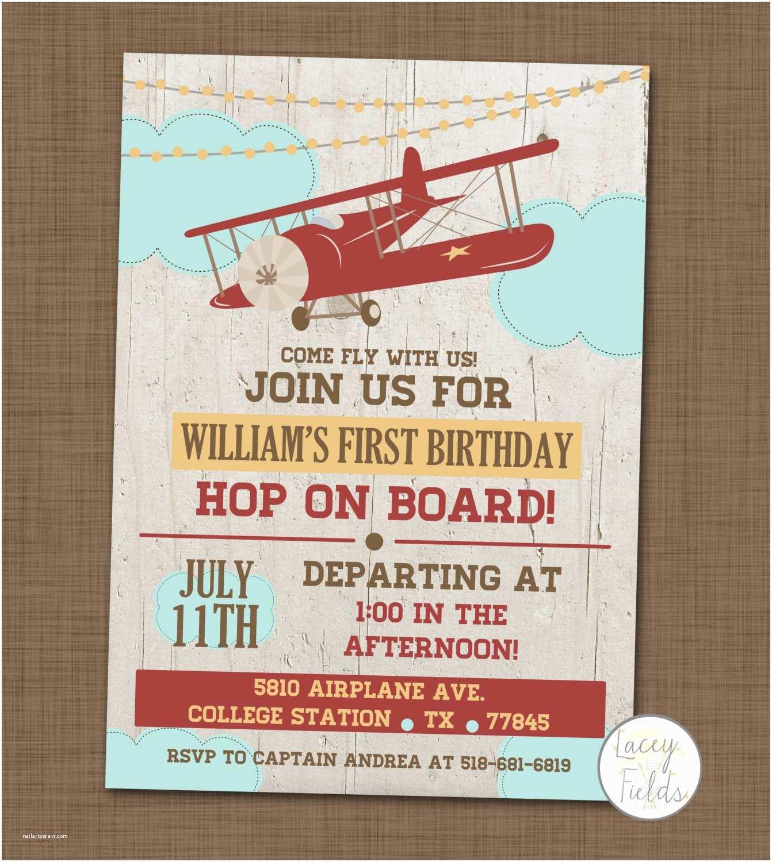 Airplane Birthday Invitations Airplane Birthday Party Invitation First Birthday by