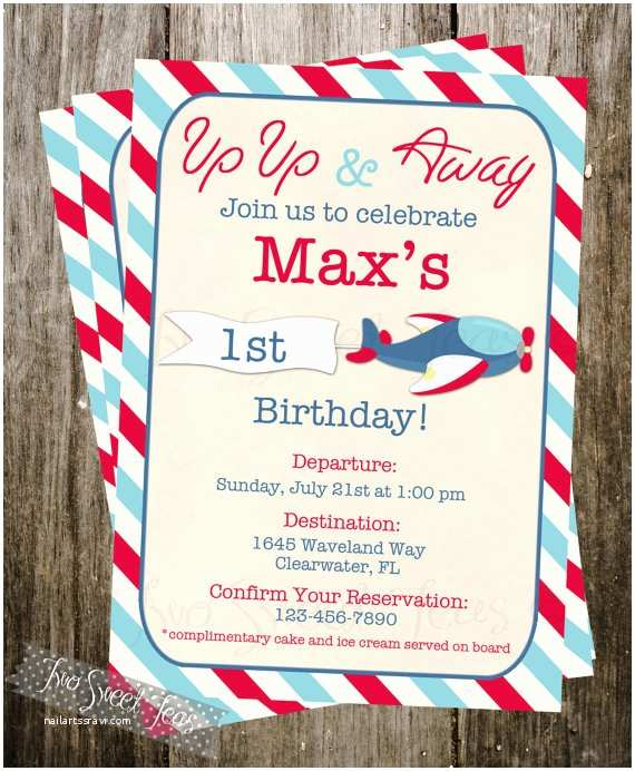 Airplane Birthday Invitations Airplane Vintage Invitation Plane Pilot Aviation by 2sweetteas