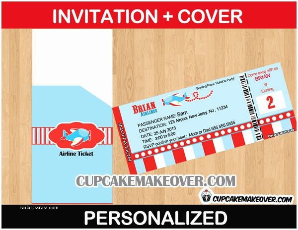 Airplane Birthday Invitations Free Printable Airline Ticket Invitation Orderecigsjuice