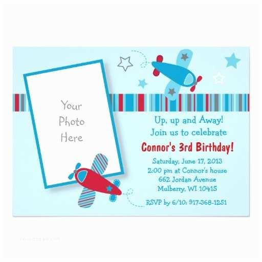 Airplane Birthday Invitations Personalized Airplane Birthday Invitations