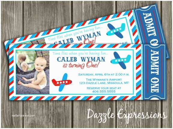 Airplane Birthday Invitations Red Blue and Aqua Airplane Ticket Birthday Party