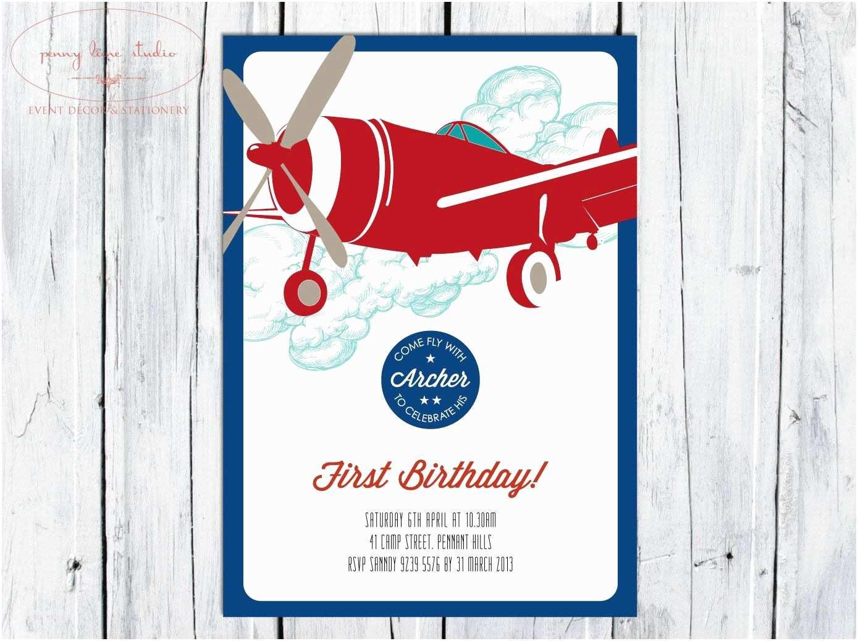 Airplane Birthday Invitations Vintage Digital Diy Printable Invitation Boys