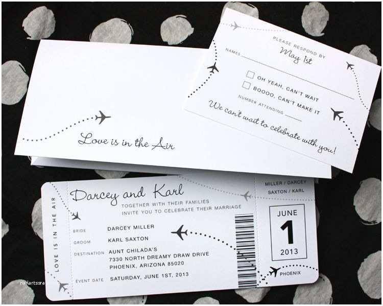 Airplane Wedding Invitations Black & White Clean & Simple Airplane Ticket Wedding