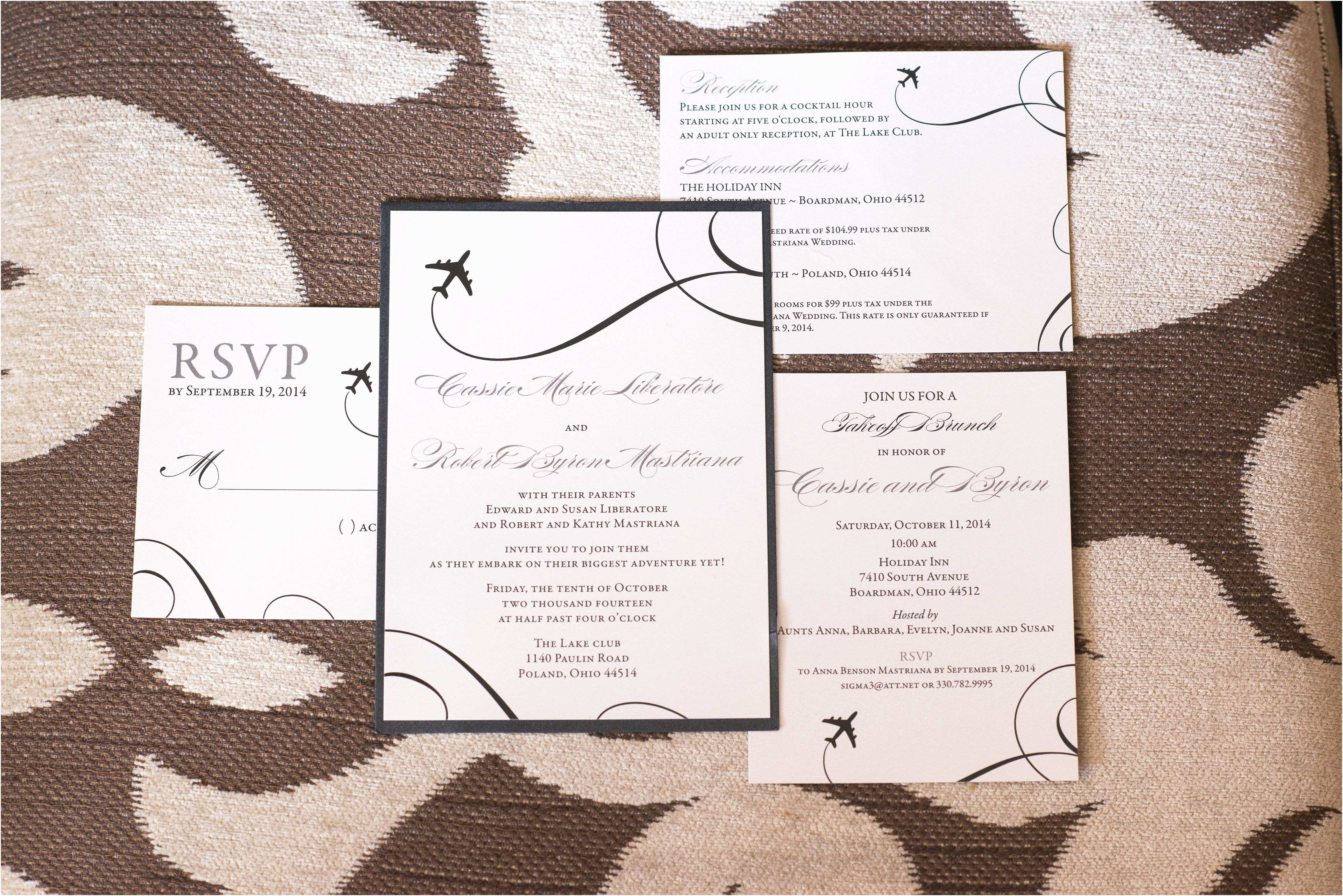 Airplane Wedding Invitations Black and White Airplane Wedding Invitations