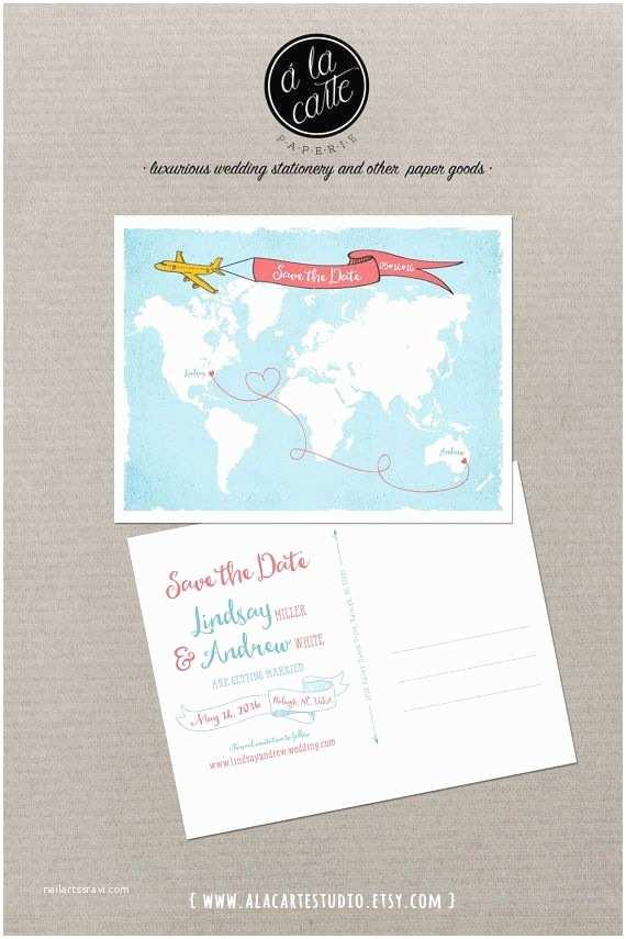 Airplane Wedding Invitations Destination Wedding World Map International