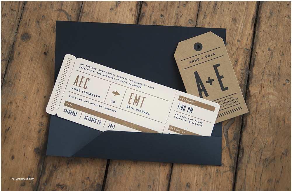 Airplane Wedding Invitations Letterpress