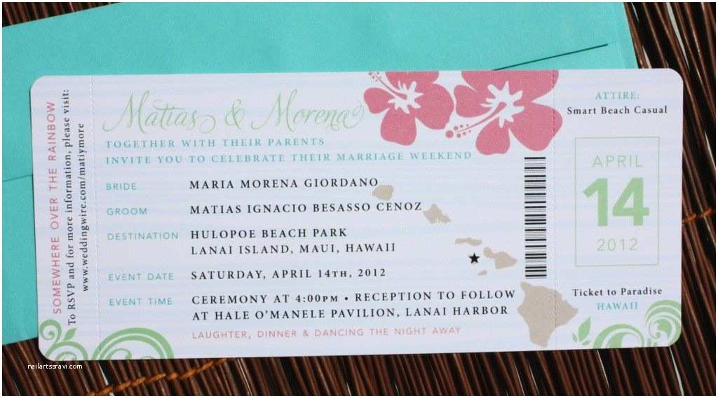 Airplane Wedding Invitations Pink Green & Turquoise Swirl And Hibiscus Airline