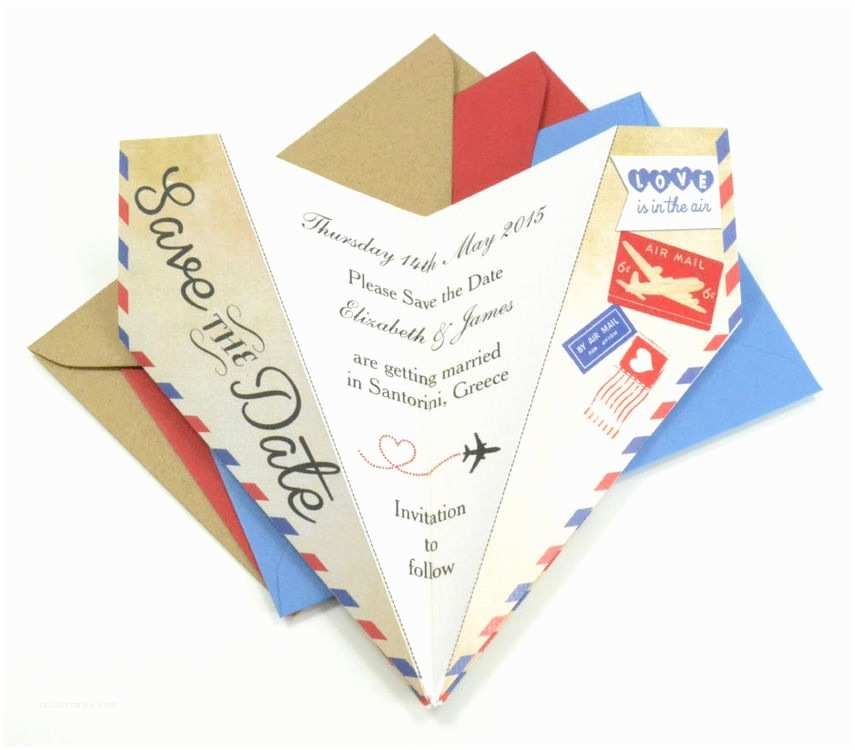 Airplane Wedding Invitations Vintage Airmail Save The Date Paper Airplane From £0 85