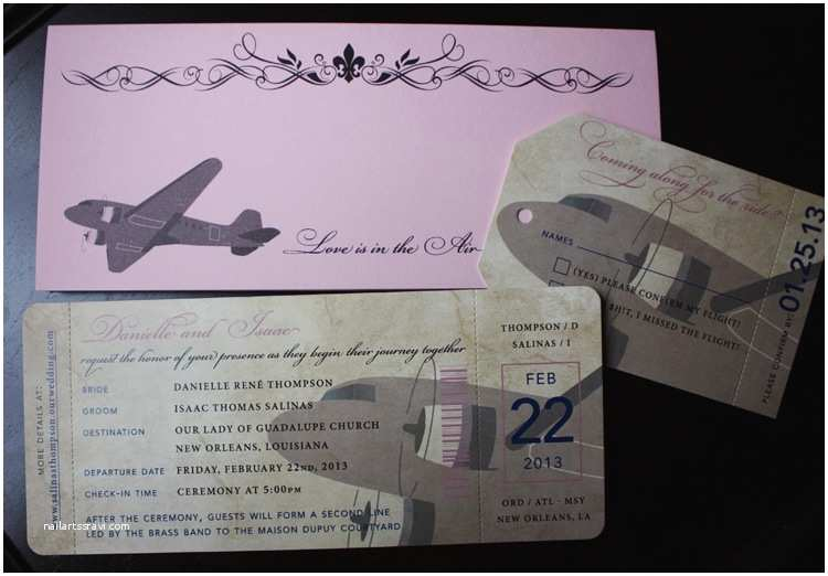 Airplane Wedding Invitations Vintage Airplane and Fleur De Lis Boarding Pass Wedding