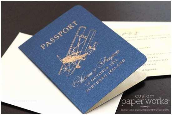 Airplane Wedding Invitations Vintage Airplane Passport Invitations – Custom Paper Works