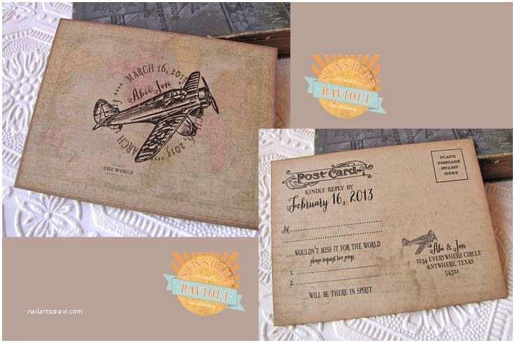 Airplane Wedding Invitations Vintage Destination Wedding Invitation Rustic World