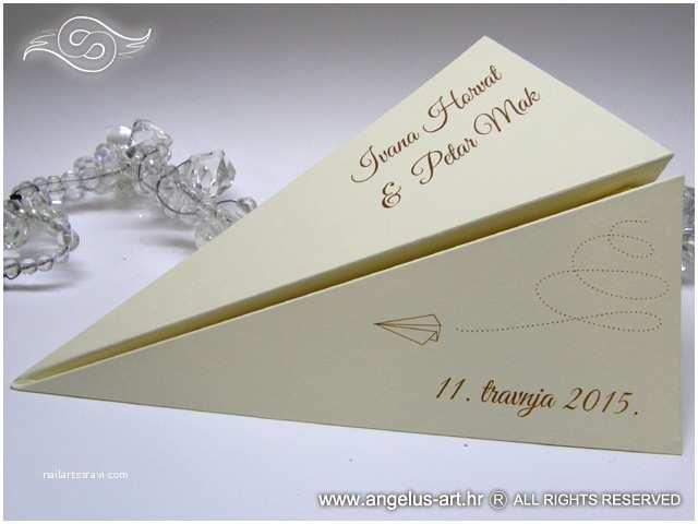 Airplane Wedding Invitations Wedding Invitation Cream Paper Plane Angelus