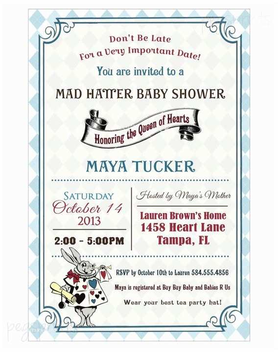 Alice In Wonderland Baby Shower Invitations Alice In Wonderland Baby Shower Invitation Mad Hatter