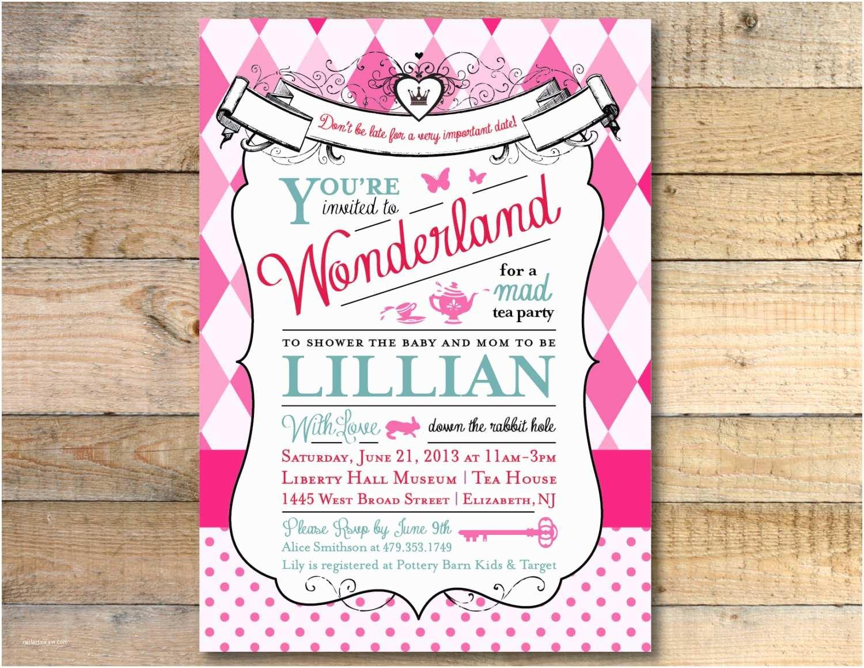 Alice In Wonderland Baby Shower Invitations Alice In Wonderland Baby Shower Invitation