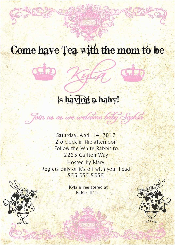 Alice In Wonderland Baby Shower Invitations Alice In Wonderland Baby Shower Printable by Lillymilliestudio