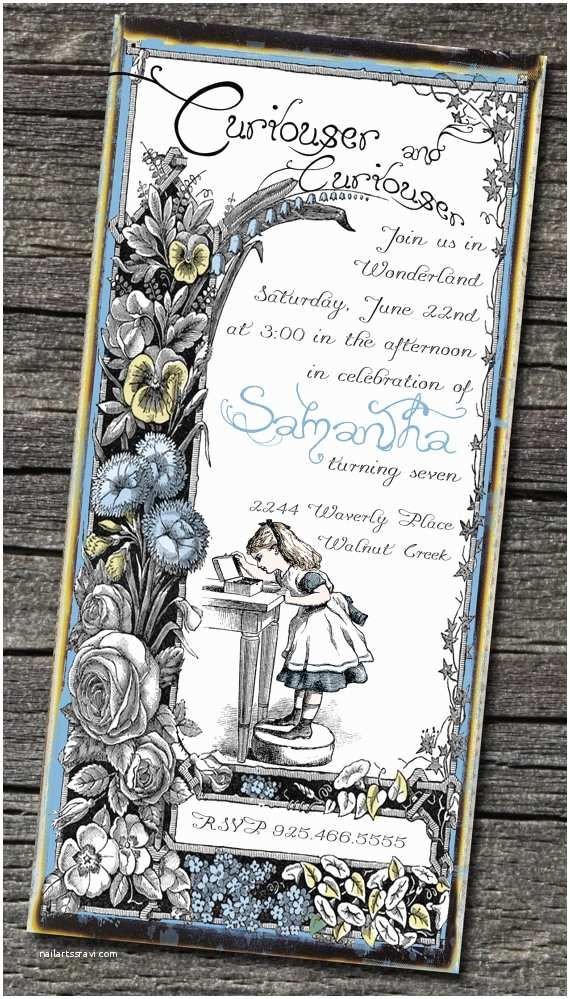 Alice In Wonderland Baby Shower Invitations Alice In Wonderland Party Invitation Inspiration