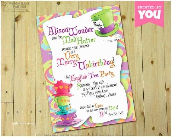 Alice In Wonderland Baby Shower Invitations Mad Hatter Invitation Alice In Wonderland by Piggybankparties