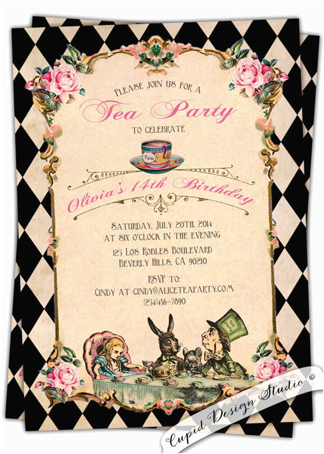 Alice In Wonderland Birthday Invitations Alice In Wonderland Birthday Invitation Baby by Cupiddesigns