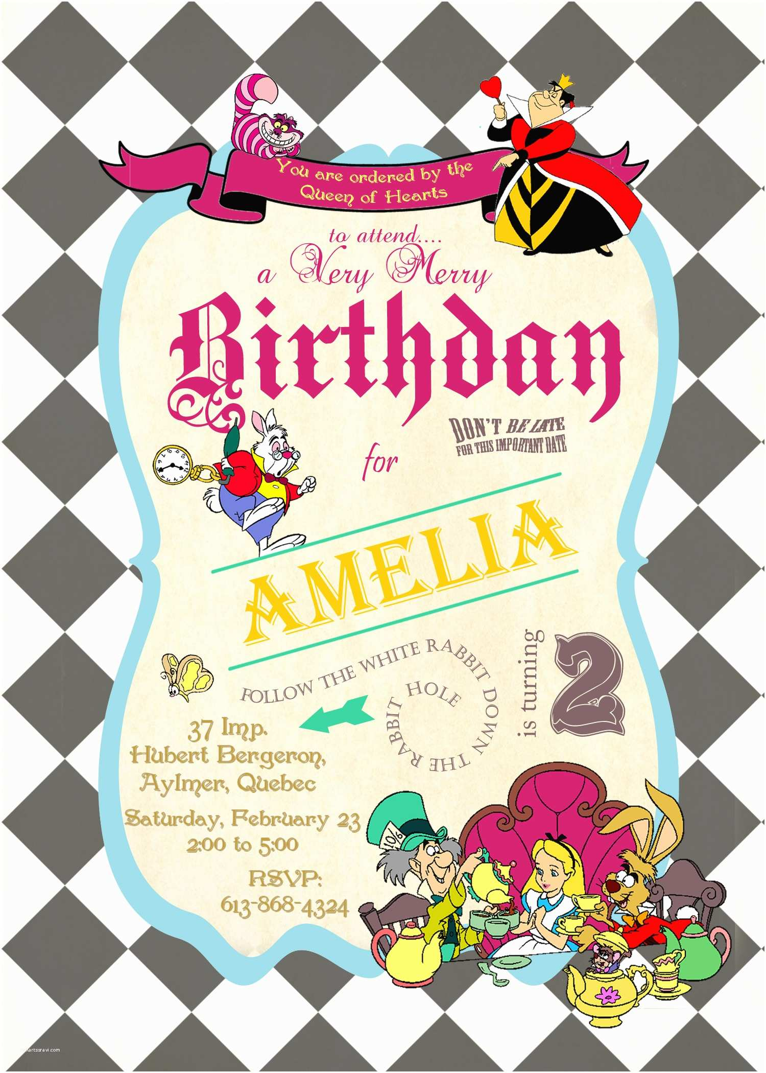 Alice In Wonderland Birthday Invitations Alice In Wonderland Birthday Invitations