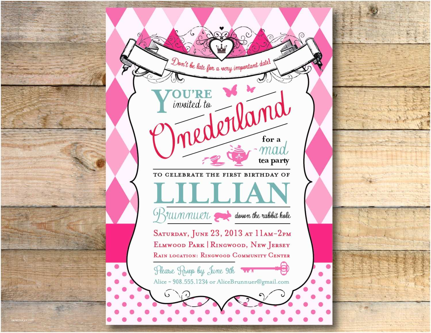 Alice In Wonderland Birthday Invitations Alice In Wonderland Invitation 1st Birthday Party