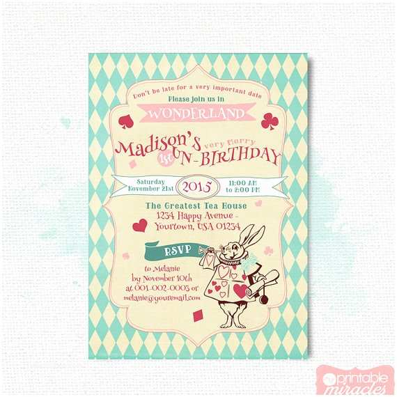 Alice In Wonderland Birthday Invitations Alice In Wonderland Invitation Adult Tea Party Invite Girls