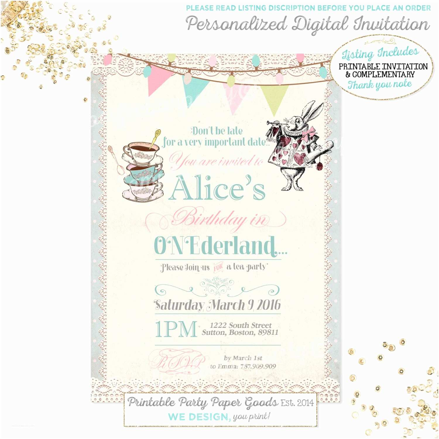 Alice In Wonderland Party Invitations Alice In Wonderland 1st Birthday Invitation Alice In